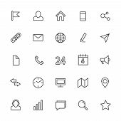Contact line vector icons. Media and internet communication outline symbols. Communication web icons, pin and star, connection and address line icon illustration poster