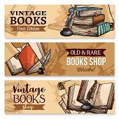 Old book with feather pen and inkwell sketch banner set. Vintage book, antique paper document or manuscript with ancient quill pen, inkpot and bookmark poster for education theme or book shop design poster