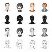 Hairdresser, clipping, coiffure and other  icon in cartoon style.Man, brown, haired icons in set collection. poster