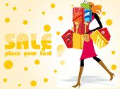 crazy sale background with a modern girl loaded with shopping bags poster