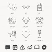 Love heart, brilliant and engagement ring icons. Bow, smile and gift box linear signs. Valentine amour arrows flat line icons. Education book, Graph chart and Chat signs. Vector poster