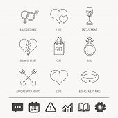 Love heart, gift box and wedding ring icons. Broken heart and engagement linear signs. Valentine amour arrows, brilliant flat line icons. Education book, Graph chart and Chat signs. Vector poster