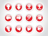 red rounded arrow icons poster