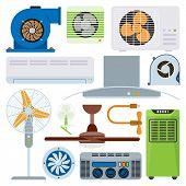 Ventilation system air condition ventilators equipment conditioning climate fan technology temperature coolers vector illustration. Blow acclimatization purifier blowing ventilation appliance. poster