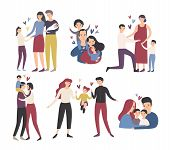 Happy loving family. Mother, father and children smiling, hugging, kissing and playing. Collection of cute and funny flat cartoon characters in different situations. Colorful vector illustration poster