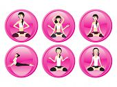abstract background with yoga icons, vector buttons
