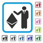Banker Show Ethereum icon. Flat gray iconic symbol in a light blue rounded rectangular frame. Black, gray, green, blue, red, orange color variants of Banker Show Ethereum vector. poster