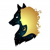 Silhouette of beautiful woman with shadow of wolf with crescent moon and stars isolated. Sticker print or tattoo design vector illustration. Pagan totem wiccan familiar spirit art. poster