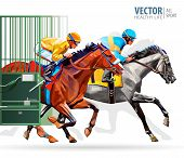 Three racing horses competing with each other, with motion blur to accent speed. Start gates for horse races the traditional prize Derby. Vector illustration poster