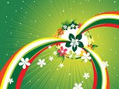abstract green shiny rays background with colorful stripes, blossoms poster