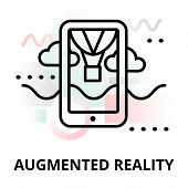 Abstract icon of future technology - augmented reality on color geometric shapes background for graphic and web design poster