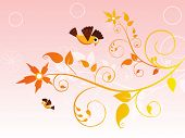 seamless artwork background with curve floral, cute birds poster