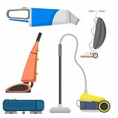 Professional cleaning equipment isolated vector home cleanup and service cleaning equipment housework tools. House product chemical washing equipment vacuum housekeeping. poster