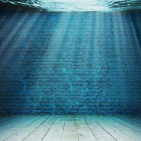 3d illustration of Vintage interior underwater. Abstract illustration background