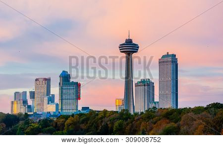 Niagara Falls, Canada - October 27, 2017: Hotels, Casinos, And The Skylon Tower Dominate The City Sk