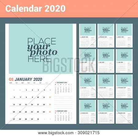 Wall Calendar Planner Template For 2020 Year. Vector Design Print Template With Place For Photo. Wee