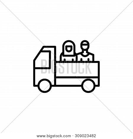 Truck Migration Outline Icon. Element Of Migration Illustration Icon. Signs, Symbols Can Be Used For