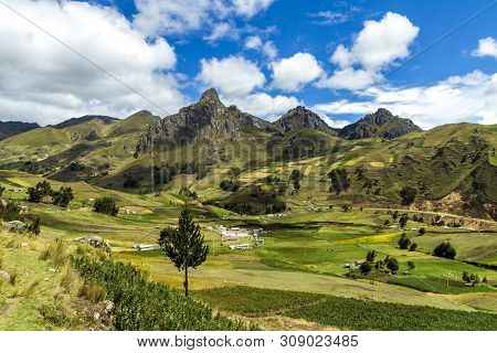 Mountain In Central Ecuadorian Andes Panorama View