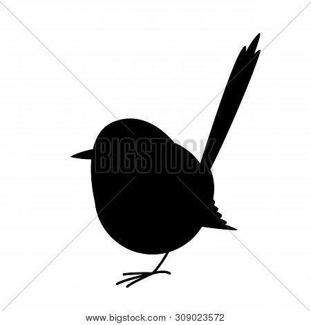 Variegated Fairy Wren Bird,vector Illustration,black Silhouette Set