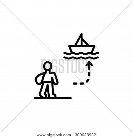 Refugee Ship Migration Outline Icon. Element Of Migration Illustration Icon. Signs, Symbols Can Be U