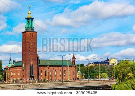 Middleaged Building Landmark City Hall On A Beautiful Sunny Day, Stockholm, Sweden