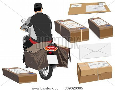 Postman Driving A Motorcycle Or Bike Cartoon Graphic Back View Around Has Mail Boxes And Letter, Iso