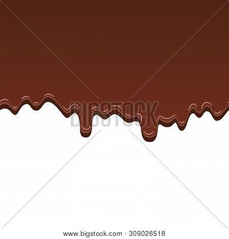 Chocolate Seamless Pattern. Drip Dark Chocolate Isolated White Background. Sweet Melting Food. Dripp
