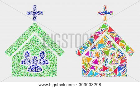 Church People Mosaic Icon Of Triangle Elements Which Have Variable Sizes And Shapes And Colors. Geom