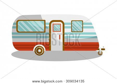 Camper trail of camper bus of van.  isolated flat icon of motorhome car or vehicle for holiday trip or travel caravanette coach
