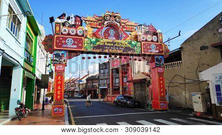 Melaka, Malaysia - 25 Jun, 2019: Street View Of Old Town In Melaka Malaysia. Melaka Has A Historical