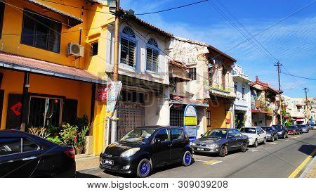 Melaka, Malaysia - 25 Jun, 2019: Street View Of Jonker Street In Melaka Malaysia. Melaka Has A Histo