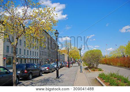 Montreal - May 3, 2009: Historic Buildings On Rue De La Commune In Old Montreal, Quebec, Canada.