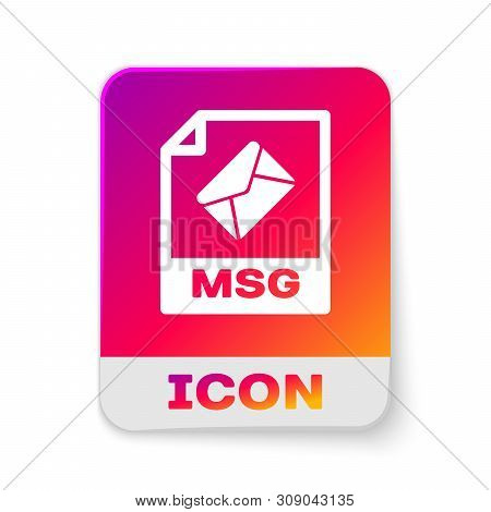 White Msg File Document Icon. Download Msg Button Icon Isolated On White Background. Msg File Symbol
