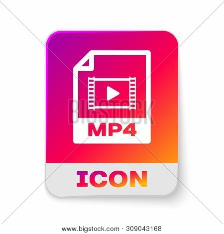 White Mp4 File Document Icon. Download Mp4 Button Icon Isolated On White Background. Mp4 File Symbol