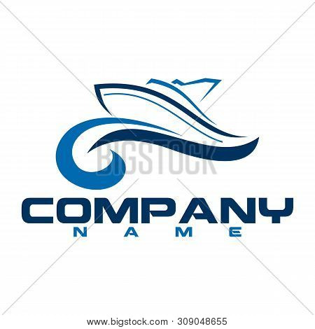 Abstract Speed Boat And Blue Sea Waves - Vector Business Logo Template Concept Illustration.