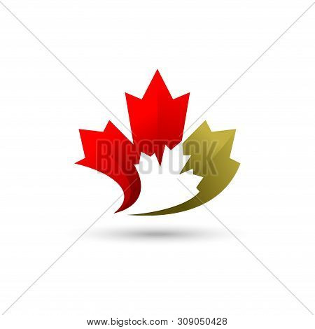Maple Leaf Logo, Canadian Flag Symbol, Colorful Leaf, Nature Logo.