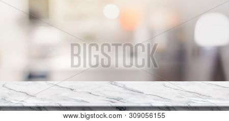 Empty White Marble Table Top Food Stand With Blur House Kitchen Background Bokeh Light,mock Up For P