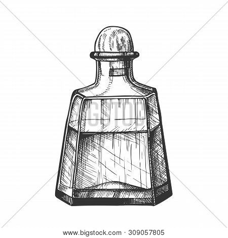 Classic Crystal Carafe Tequila Beverage Vector. Mexican Alcohol Drink In Elegant Closed Glass Bottle