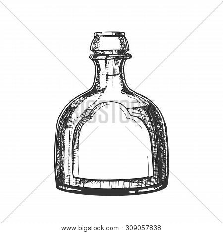 Blown Classic Mexican Tequila Glass Bottle Vector. Hand Drawn Modern Bottle With Blank Label For National Mexico Alcohol Drink Product. Made From Blue Agave Plant Beverage Package Cartoon Illustration poster