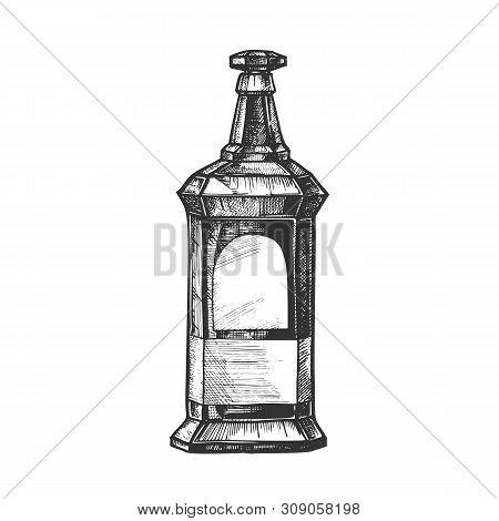 Rectangular Vintage Whisky Booze Bottle Vector. Design Sketch Bottle Of Collection Alcoholic Irish D