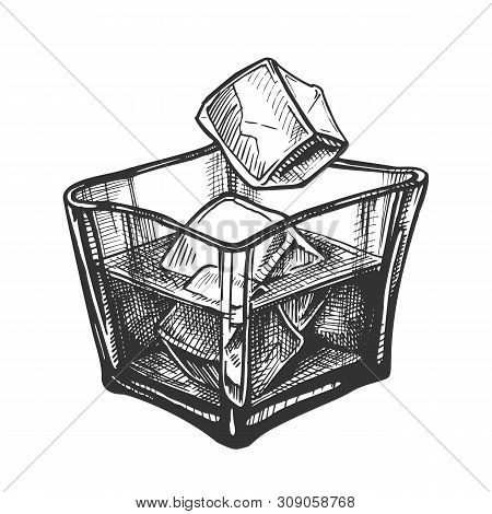 Square Glass With Rum Brandy And Ice Cubes Vector. Design Decorative Glass With Cold Elegant Aged St