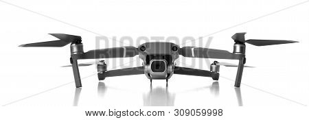 New Dark Grey Drone Quadcopter With Digital Camera And Sensors Flying Isolated On White Background