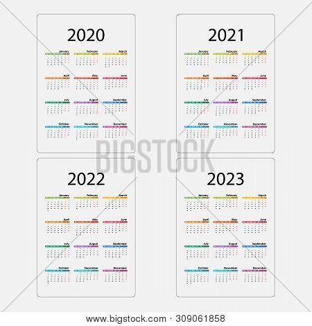 Calendar 2020, 2021,2022 And 2023 Calendar Template.yearly Calendar Vector Design Stationery Templat