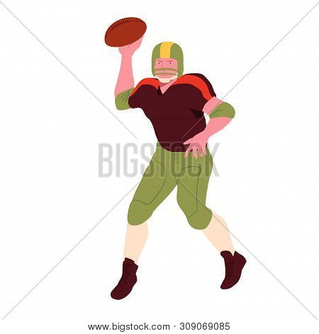 American Football Player. Quarterback Making A  Pass. Vector Flat Illustration. Avatar, The People I