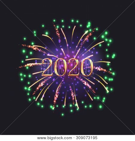 Happy New Year Banner With Festive Fireworks And 2020 Golden Number. Celebratory Template With Reali