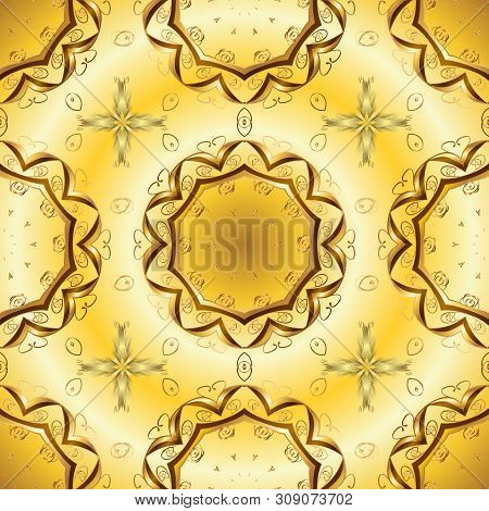 Background Texture, Sketch, Theme In Yellow And Beige Colors. Abstract Ethnic Vector Seamless Patter