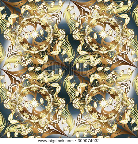 Doodles Brown And Gray On Colors. Vector. Seamless Beautiful Fabric Pattern.