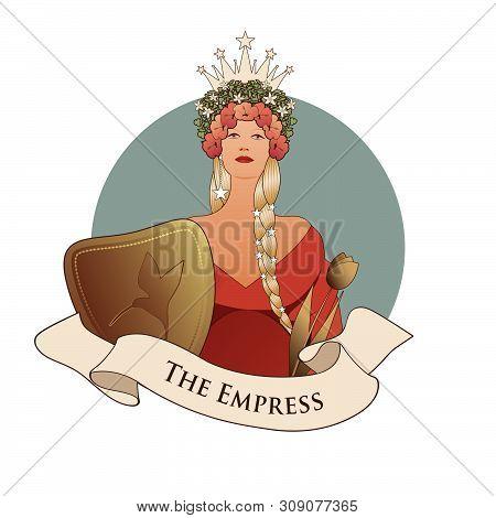 Major Arcana Emblem Tarot Card. The Empress. Beautiful Woman With Long Braids, Crown Of Flowers And