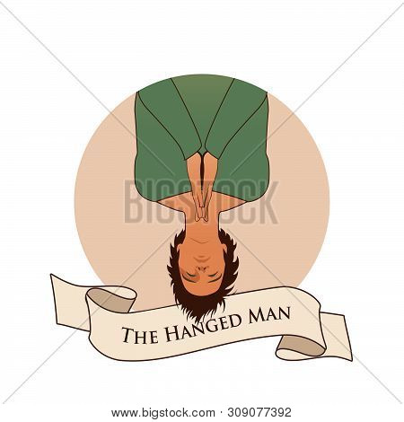 Major Arcana Emblem Tarot Card. The Hanged Man. Man Hanging Ace Down,  With Praying Hands, Isolated
