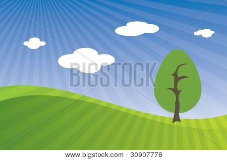 Vector hilly landscape with blue sky